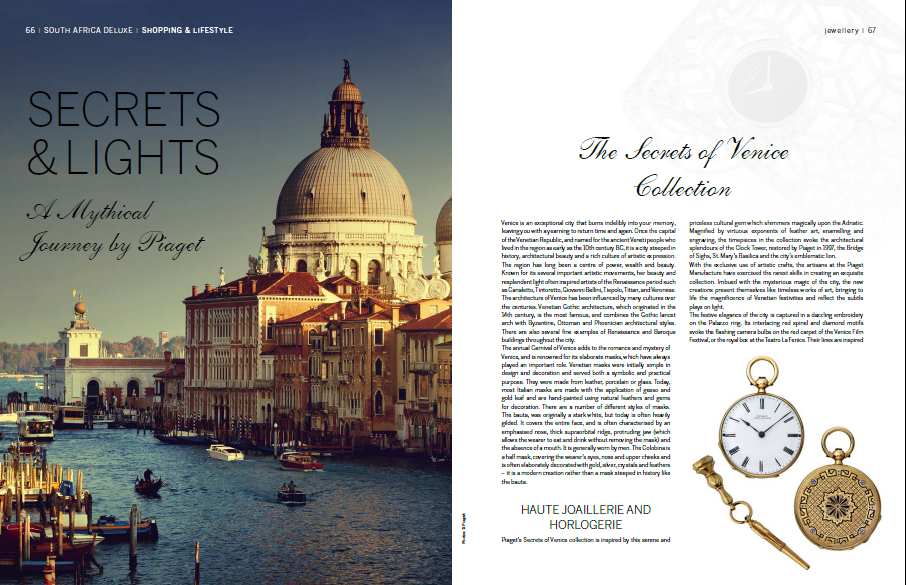 Piaget's Secrets and Lights Collection was inspired by the beauty of Venice and Samarkand