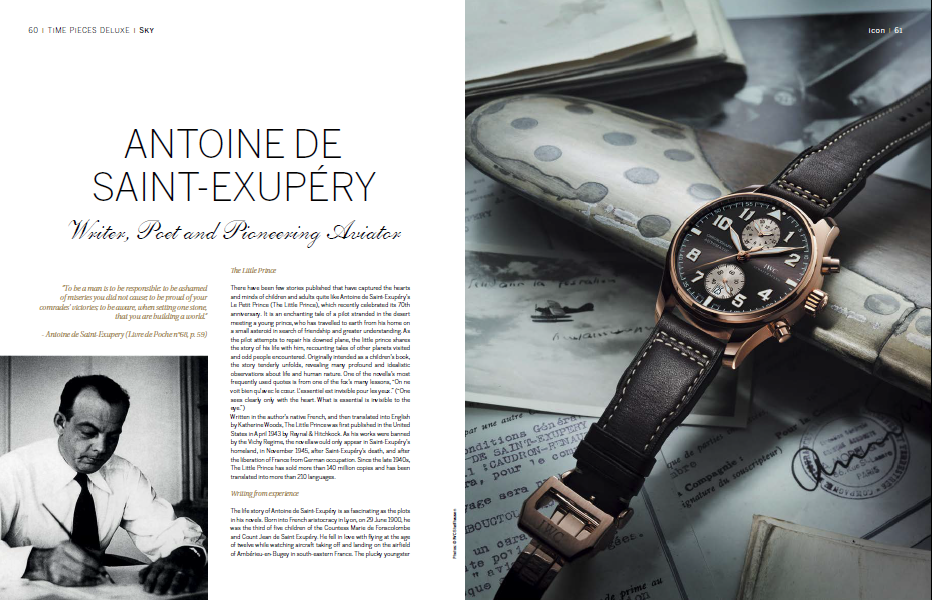Antoine de Exupery Writer, Poet and Pioneering Aviator a feature for IWC by Lindsay Grubb