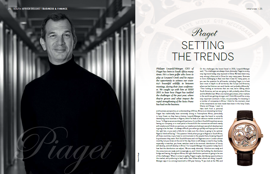 Lindsay Grubb interviews Piaget CEO Philippe Leopold-Metzger
